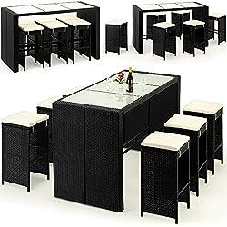 Deuba - Bar de Jardin 6+1 - polyrotin Noir - Coussins Inclus - Plateau de Table en Verre dépoli - Ensemble Table et chaises, terrasse, Balcon