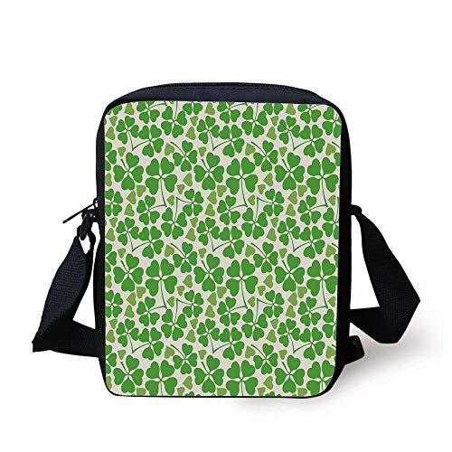 Irish,Gaelic Nature Garden Decor Spring Clovers with Cute Hearts Freshness Decorative,Lime Green Pistachio White Print Kids Crossbody Messenger Bag Purse -