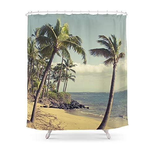 Renfengchui Maui Land Beach Kihai Maui Hawaii Duschvorhang Wasserdicht Polyester Stoff Badezimmer Dekoriert Multi-Size-Druck Duschvorhänge 180 X 210 cm