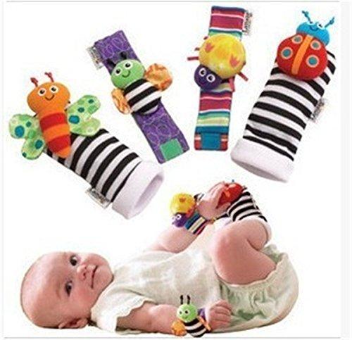 Stayeal Baby Armrassel Socken Biene Spielzeug Mehrfarbig Karierte Socke Handgelenk Rassel