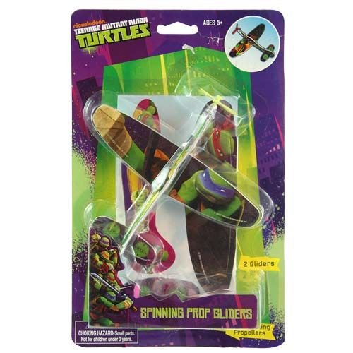 Teenage Mutant Ninja Turtles 2 Pack Plane Glider Play Set for Indoor or Outdoor Fun with Real Spinning Propellers