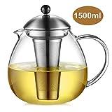 Glastal Glas Teekanne 1500ml mit 18/10 Edelstahl Teesieb Große Borosilicate Glas Teebereiter auf Stove Glaskanne mit Entfernbar Seib