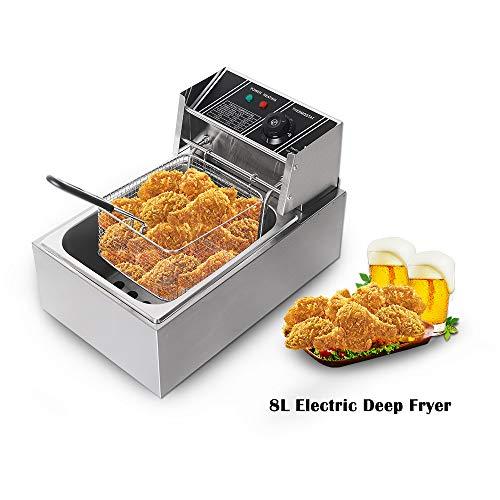 Trustme ushas - friggitrice semi-professionale, in acciaio inox, 2500 watt, 8 litri garanzia e qualità. senza bpa, ce, 220 v/50 hz