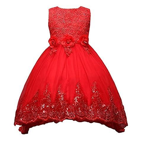 Happy Cherry Blumenmädchenkleid mit Blumen & Schleife, ohne Ärmel Hochzeitskleid Tüll Festkleid Abendkleid Partykleid, Vorne Kurz Hinten Lang Gr.130 (Für Körpergröße 110-120cm) -