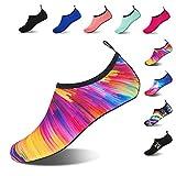 HMIYA Water Shoes Barefoot Quick-Dry Slip On Aqua Yoga Beach Surf Swim Socks for Men Women(Colorful Orange,) UK10-11/EU44-45