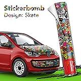 30x150cm Stickerbomb Auto Folie Glänzend - Sticker Logo Bomb - JDM Aufkleber - Design: Skate