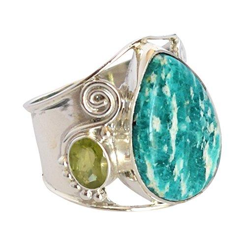 Exotic amazzonite & peridoto gemma anello in argento sterling 925sz11per regalo di compleanno fsj-1333