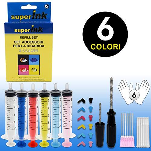 SuperInk Refill Set 6 Colores Cartuchos Tinta Canon