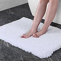 Norcho Alfombra de Baño Microfibra Suave Lujosa Caucho Antideslizante Lujosa Alfombra de ducha (Blanco 80x50x4cm, 80x50x4cm)