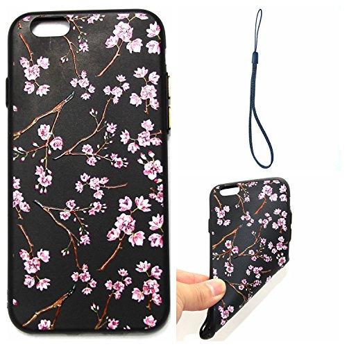 Hülle für iPhone 6 plus/6s Plus, Schwarz Silikon Schutzhülle für iPhone 6 plus/6s Plus Case TPU Bumper Handyhülle, Cozy Hut ® [Thin Fit] [Schock Absorption] Soft Flex Silikon Schlanke Hülle [Schwarz]  Rosa Kirschblüten