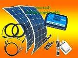 bau-tech Solarenergie 100 Watt Flexi Solaranlage, 2 Stück 50Watt Module flexibel, 12 Volt Set, GmbH