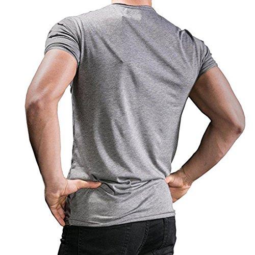 OverDose Herren Sommer T-Shirt Reißverschluss Löcher schlank Tees Kurzarm Oberteil Basic Rundhals Tops Fitness Bluse Grau