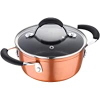 Bergner Infinity Chefs Forged Aluminium Non-Stick Casserole with Glass Lid, 16 cm, 1.2 Liters, Induction Base, Copper