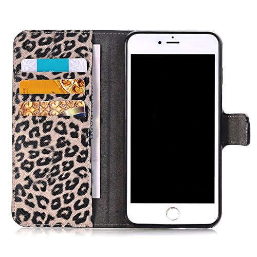 iPhone Case Cover Leopard Punkt Muster Wallet Stand Case Retro Flip Wallet Stand Case für Apple IPhone 7 Plus ( Color : 1 , Size : IPhone7 Plus ) 3