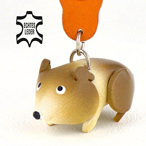 Hamster Krümel - Schlüsselanhänger Figur aus Leder in der Kategorie Hamsterball / Hamsterfutter von Monkimau in weiß / braun - Dein bester Freund. Immer dabei! - ca. 5cm klein Farm Hack