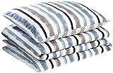 AmazonBasics - Set con copripiumino in microfibra di prima qualità, 140 x 200 cm / 65 x 65 cm, blu a righe (coastal stripe)
