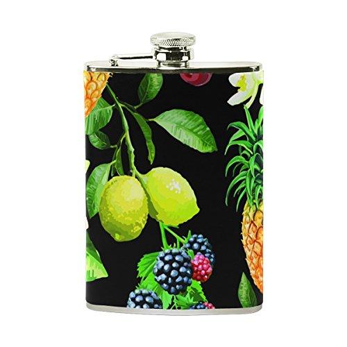 Trauben-drink (jeansame Personalisierte Hip Drink Fläschchen 8Oz Edelstahl für Frauen Herren Sommer Tropical Fruits Ananas Trauben)