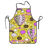 Sweet grape Adjustable Bib Aprons Bird Clouds Hot Air Ballon Personalized Comfortable BBQ Grill Barbecue Home Apron Intended for Family Woman Man Chef