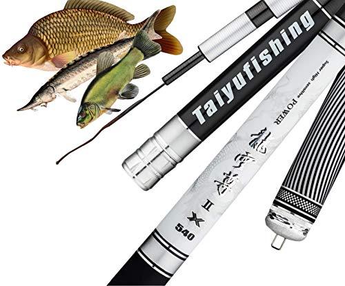 laselectionfishing Angelrute für große Fische - Karpfenangeln - Stempel - Silure - Angelrute - Teleskopisch - 5 m 7 m - ohne Gummizug - Fische bis 15 kg