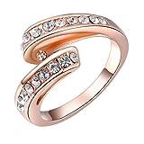 joyliveCY 2018moda de la mujer elegante oro rosa cinta anillo Reino Unido tamaño Q