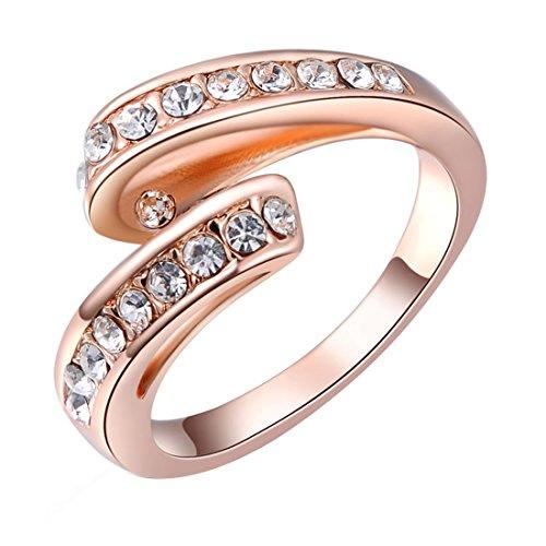 joyliveCY 2018moda de la mujer elegante oro rosa cinta anillo Reino