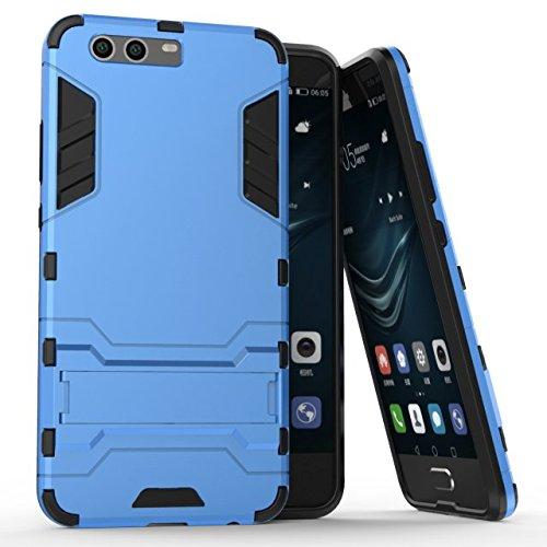 YHUISEN Huawei P10 Plus Case, 2 In 1 Eisen Rüstung Tough Style Hybrid Dual Layer Rüstung Defender PC + TPU Schutzhülle mit Stand Shockproof Case für Huawei P10 Plus ( Color : Red ) Blue