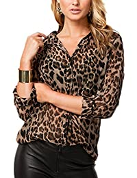Mupoduvos La Mujer Casual Solapa Manga Larga Cuello V Leopardo Blusa T Shirt Tunic Top Tee