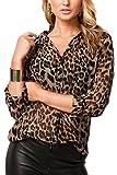 La Mujer Casual Solapa Manga Larga Cuello V Leopardo Blusa T Shirt Tunic Top tee Leopard M