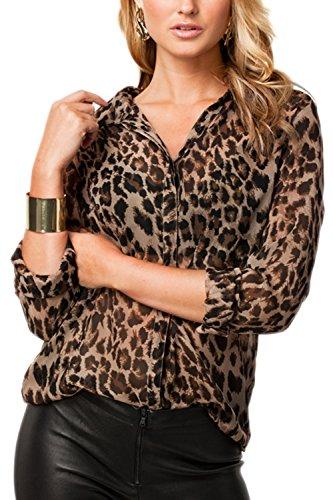 La Mujer Casual Solapa Manga Larga Cuello V Leopardo Blusa T Shirt Tunic Top tee Leopard L
