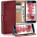moex Samsung Galaxy S6 | Hülle Dunkel-Rot mit Karten-Fach 360° Book Klapp-Hülle Handytasche Kunst-Leder Handyhülle für Samsung Galaxy S6 Case Flip Cover Schutzhülle Tasche