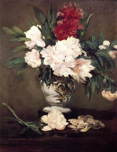 Pittura ad olio su tela tesa - 21 x 28 inches / 53 x 71 CM - Edouard Manet - Vase of Peonies on a Small