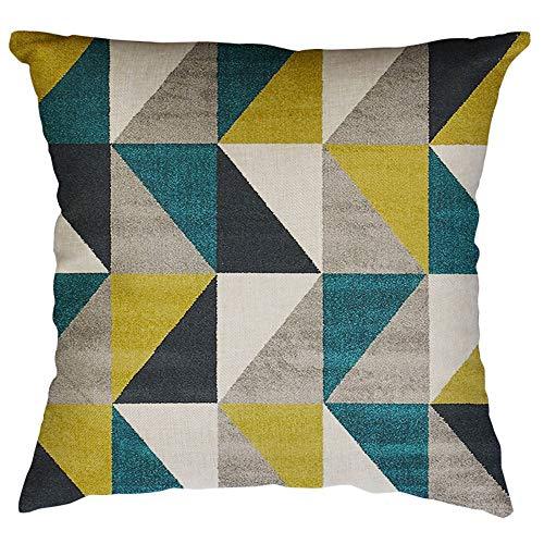 YEARNLY Kissenbezug, geometrisches Design, quadratisch, Pfirsichhauteffekt, Schwarz/Weiß, Bettwäsche aus Baumwolle - Satin Kissenbezug Schokolade