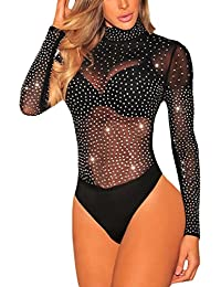 SEBOWEL Damen Sexy Strass Mesh Body Club Party Langarm Bodysuit Bluse Tops