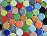104g ca. 30 St. Mosaiksteine rund Buntmix aus Keramik Durchmesser