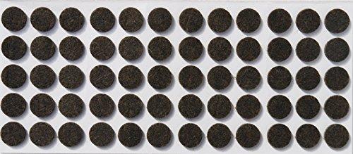 60 Feltrini, Ø 14 mm, marrone, di spessore 3.5 mm, Mobili scivola - protezione antigraffio, (Feltrini Per Mobili)