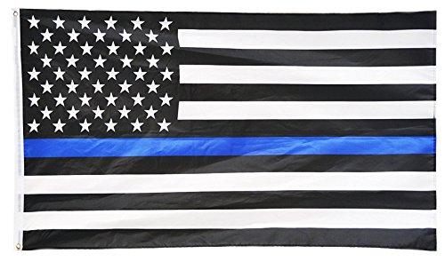 maggift thin-blue-line American Police Flagge 3x 5ft Eingestickte Sterne Flagge Schwarz Weiß Blau, Polyamid, blau, 3*5FT