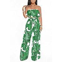 GAOWF Pantalones De Pierna Ancha Para Mujeres Conjunto De Dos Piezas Con Cofre + Pantalones,Green,S