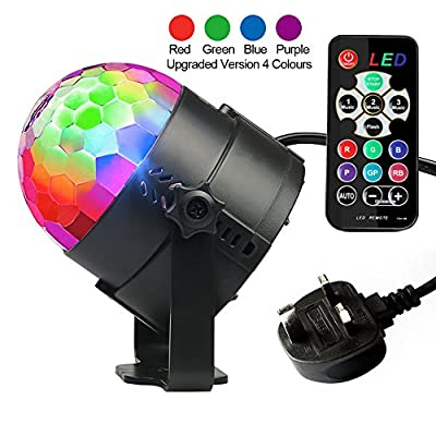 Disco Lights, Disco Ball Lights Upgraded 4 Colours RGBP Party Lights Strobe Lights by InnooLight, Remote Control Music Activated DJ Lights Magic Rotating LED Stage Lights for Birthday Parties Pub Indoor Decoration Wedding Celebration KTV Bar - low-cost UK