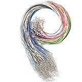 Ucatcher 20 colori misti 100 PCS 1.5 millimetri intrecciati corda cerata collana corda con corda catena di estensione e chiusura aragosta per fai da te fai da te, colore assortito