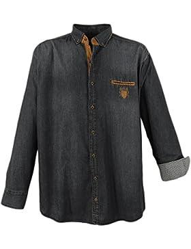 Lavecchia Camicia Uomo Jeans in Taglie forti in angesagter waschung von Lave cchia in Nero