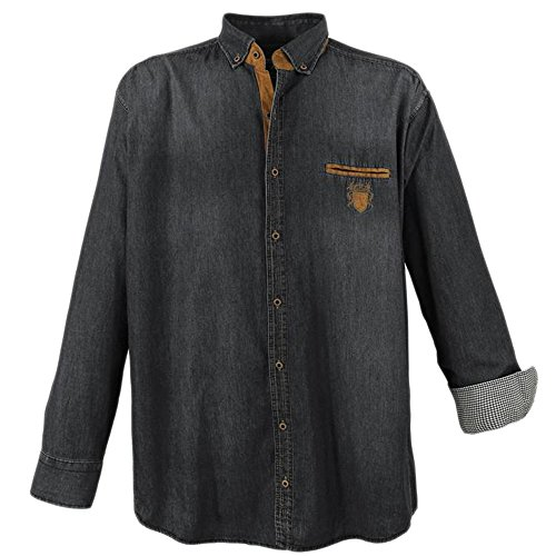 Lavecchia camicia di jeans da uomo, taglia unica, colore: nero nero xxxxxxxl