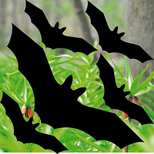 Set schwarz 5 Stück Fledermaus Vögel Aufkleber gegen Vogelschlag die cut Tattoo Warnvögel Fenster Schutz Deko Folie (Auto-fenster-folie 5)