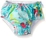 i play. Baby Girls' Ruffle Snap Reusable Swim Diaper, Aqua Coral Reef, 12 Months