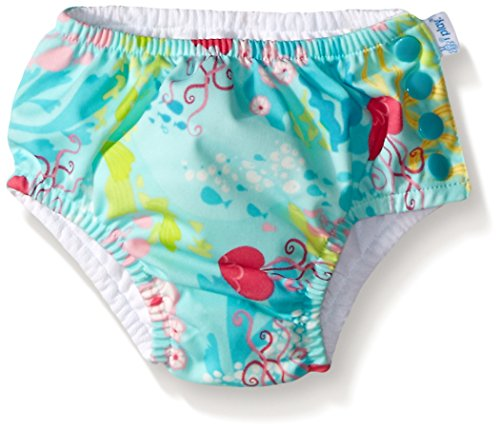 i play. Baby Girls' Ruffle Snap Reusable Swim Diaper, Aqua Coral Reef, 12 Months