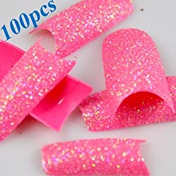 350buy 100 Pcs Glitter Nail Tips Stunning Glitter Super Pink Acrylic French False Nail Art Tips by 350buy