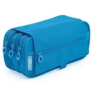 Estuche Portatodo Triple de Amplios Apartados Interiores con Cierre de Cremallera Individual (Azul Claro)