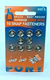 #10: Pony Tich Buttons ( Snap Fasteners) Brass - Rust Proof Superior Guide Hole, Size No 3 ( Big Size) , 10 Pcs In One Card, Set Of 10 Cards .Total 100 Buttons