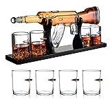 No brand 1000ML Whisky Set, M16 / M762 Fucile Whisky Bottiglia Decanter per Il Liquore, Whisky, 4 Proiettile Whisky Occhiali E Base in Legno,M