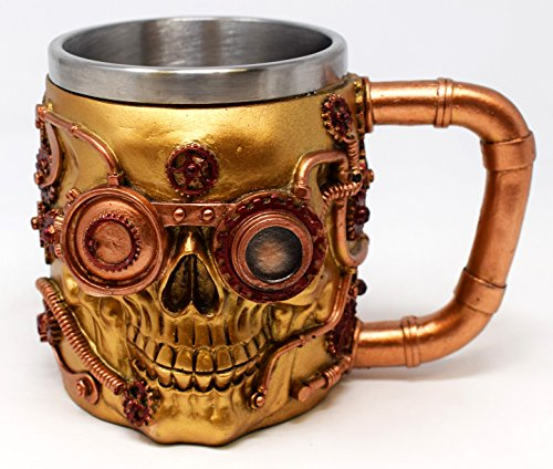 Nemesis Jarra de cerveza con diseño de calavera gótica de Halloween, diseño de fantasía