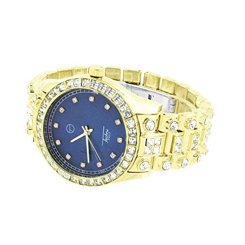 Finiture oro, quadrante blu, taglio principessa, diamante solitario